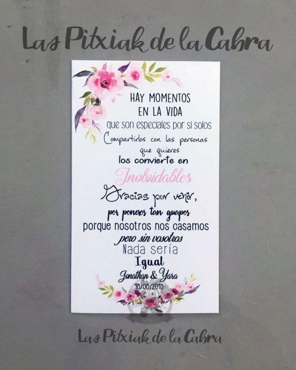 Tarjeta de agradecimiento para bodas con flores rosas momentos inolvidables