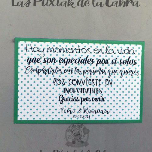 Tarjetas de agradecimiento momentos inolvidables en verde