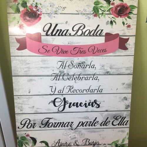 Cartel bienvenidos a nuestra boda gracias por venir flores granates