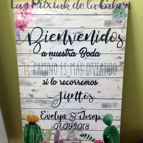 Cartel para bodas con cactus