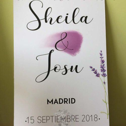 Cartel bienvenidos a boda nombres y lavanda