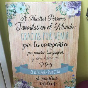 Cartel bienvenidos a nuestra boda gracias por venir azul y madera