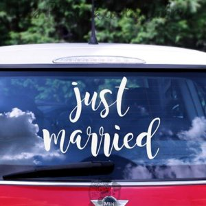 Pegatinas de vinilo para coches de boda just married