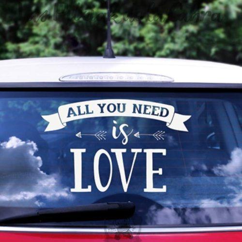 Pegatinas de vinilo para coches de boda all you need is love