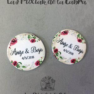Etiquetas de detalles de boda granates con flores