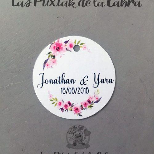 Etiquetas para detalles de bodas con estampado de flores rosas
