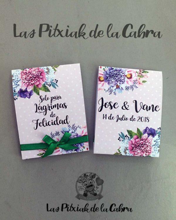 Pañuelos para boda lágrimas de felicidad flores rosas