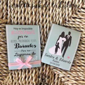 Pañuelos para boda lágrimas de felicidad con novios