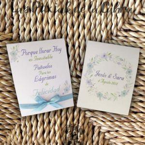 Pañuelos para boda lágrimas de felicidad flores azules