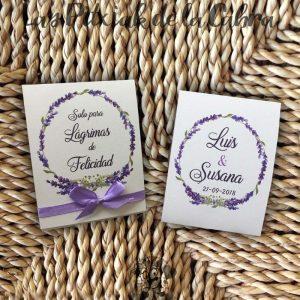 Pañuelos para boda lágrimas de felicidad lavanda