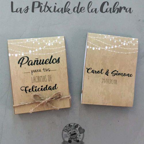Pañuelos para boda lágrimas de felicidad diseño marrón