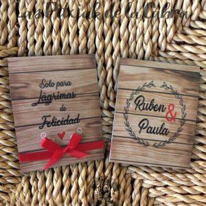 Pañuelos para boda lágrimas de felicidad madera