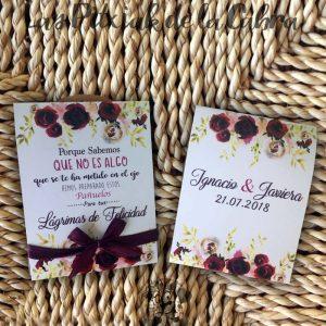 Pañuelos para boda lágrimas de felicidad granates