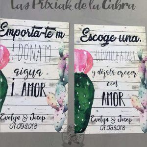 Cartel para bodas plantas con cactus