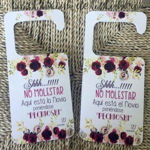 Cartel para bodas no molestar para las puertas