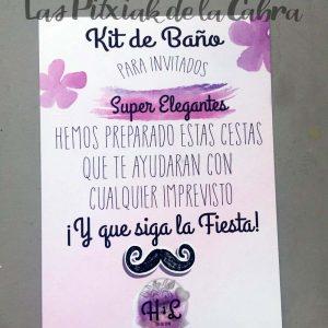 Kit de baño para hombres cartel boda morado