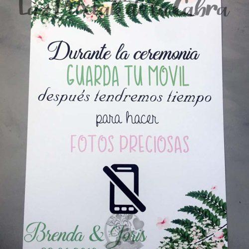 Cartel para bodas no fotos en la boda