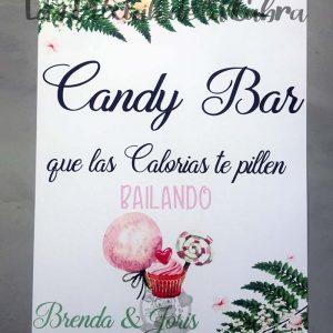 Cartel para bodas candy bar helecho