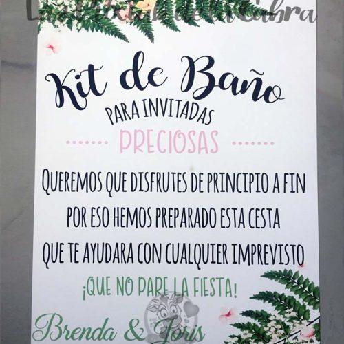 Cartel para bodas kit de baño brenda