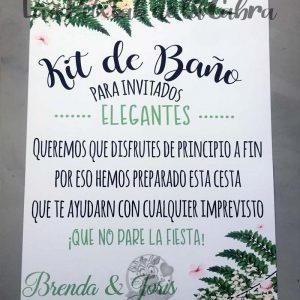 Cartel para bodas baño invitados