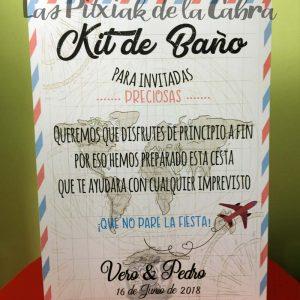Cartel para bodas kit de baño viajero