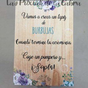 Cartel para bodas burbujas azul
