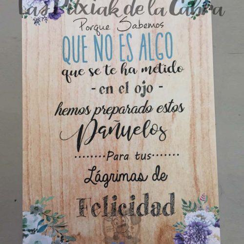 Cartel para bodas lágrimas de felicidad azul