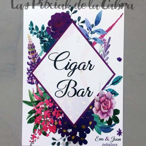 Cartel para bodas cigar bar flores