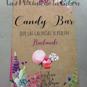 Cartel para bodas candy bar silvestre