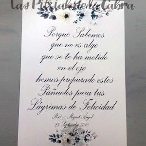 Cartel para bodas lágrimas en gris