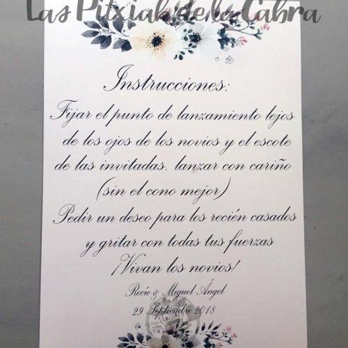 Cartel para bodas instrucciones para el cono