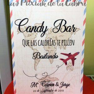 Cartel para bodas candy bar viajero