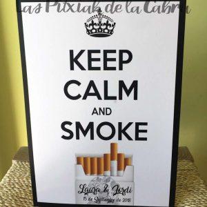 Cartel para bodas keep calm and smoke
