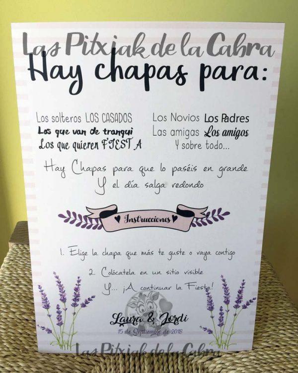 Cartel para bodas para chapas lavanda