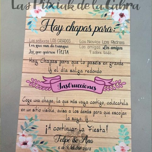 Cartel para bodas flores para chapas