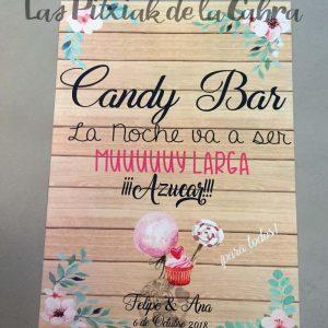 Cartel para bodas azucar candy bar
