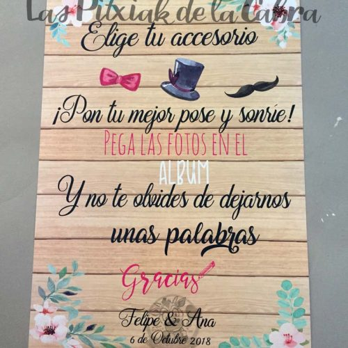 Cartel para bodas album flores