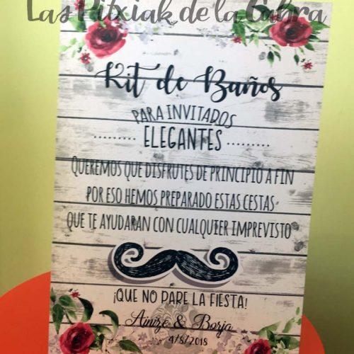 Cartel para bodas baños bigote granate