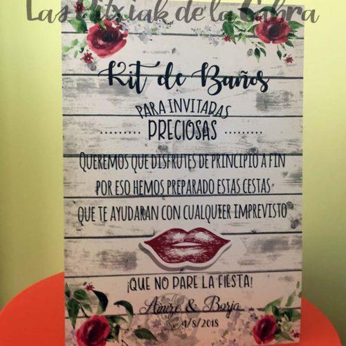 Cartel para bodas kit de baños granate