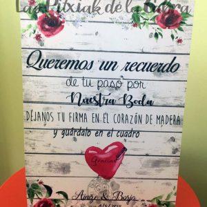 Cartel para bodas escribe tu firma granate