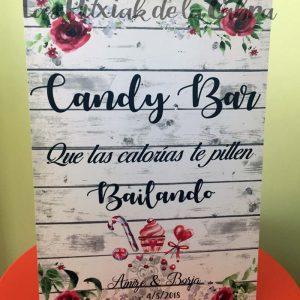Cartel para bodas candy bar granate