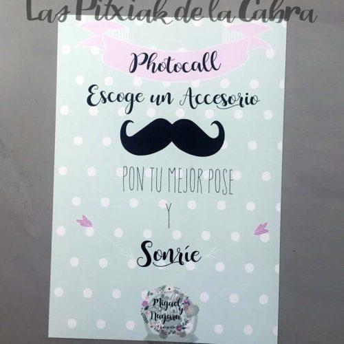 Cartel para bodas photocall escoge un accesorio