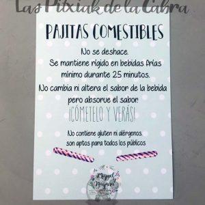 Cartel para bodas pajitas comestibles