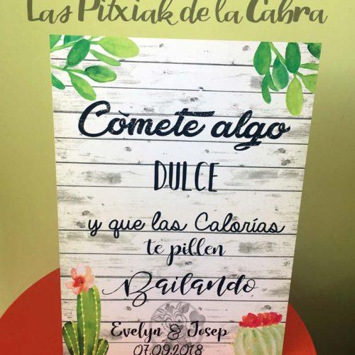 Cartel para bodas cactus mesa dulce