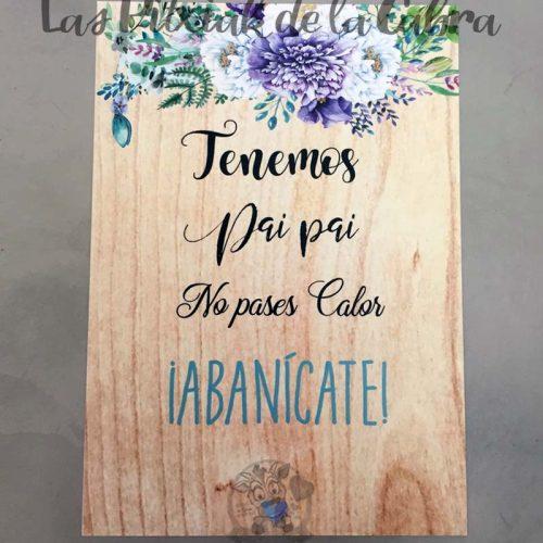Cartel para bodas abanicate flores azules