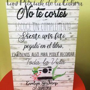 Cartel para bodas no te cortes polaroid