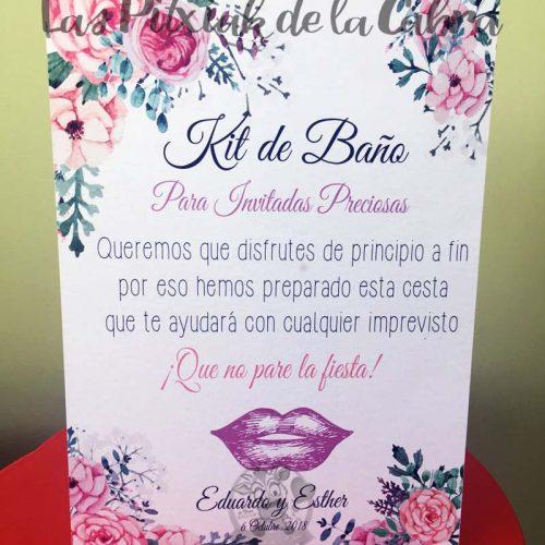 Cartel para bodas kit de baño invitadas preciosas labios morados