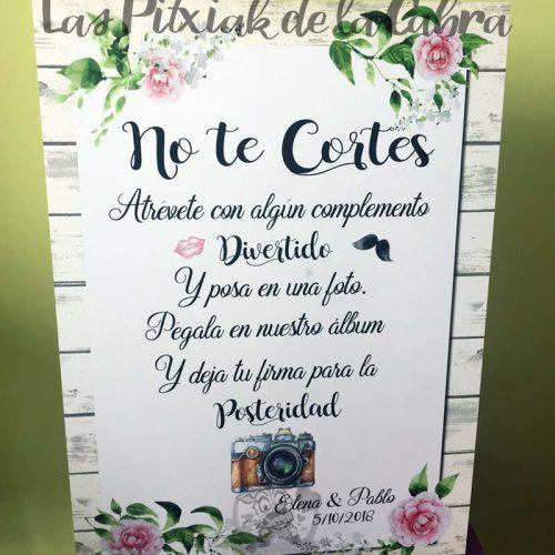 Cartel para bodas no te cortes hazte una foto