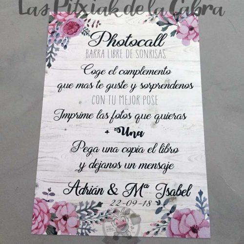 Cartel para bodas photocall barra libre de sonrisas