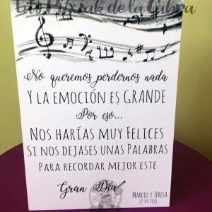 Cartel para bodas musical la emoción es grande